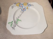 EARLY COLCLOUGH ART DECO HANDPAINTED CAKE PLATE YELLOW BLUE FLOWERS GREEN LEAVES